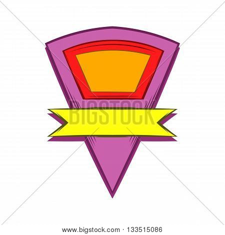 Color pennant with yellow ribbon icon in cartoon style on a white background