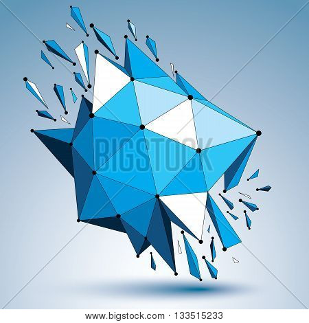 3d vector low poly deformed object with connected black and white lines and dots colorful geometric wireframe shape with fractures. Asymmetric perspective shattered form.