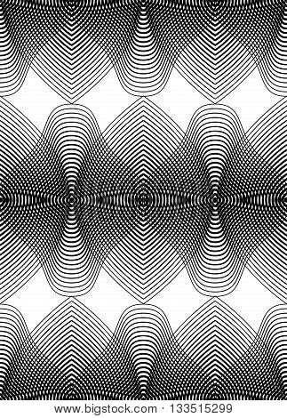 Vector monochrome stripy endless pattern art continuous geometric background with graphic lines.