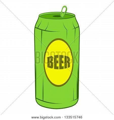 Green beer can icon in cartoon style on a white background