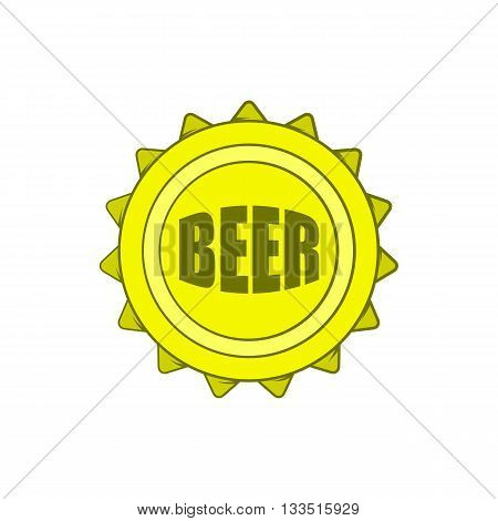 Beer bottle cap icon in cartoon style on a white background