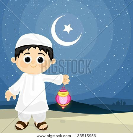 Little cute Islamic Boy holding Traditional Lantern on Desert, Mosque silhouette Background, Celebrating and enjoying on occasion of Islamic Festivals.