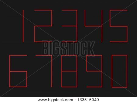 Ultra thin red numbers for timer or alarm clock