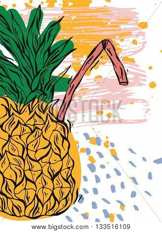 Hand draw texture card.Vector colored abstract illustration of artistic pineapple coctail with tubules.Texture for detox and fruit smoothie storemilkshake shop salecocktail bar and summer party.