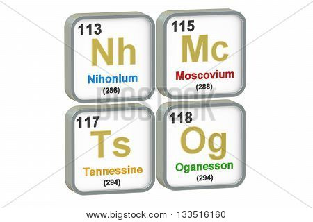 Nihonium Moscovium Tennessine Oganesson chemical elements isolated on white background 3D rendering
