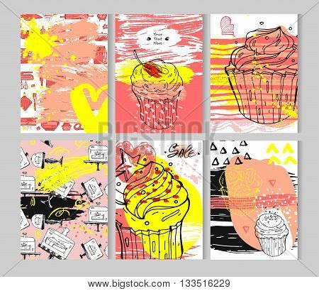 Hand drawn textured card set.Vector colored collection of artistic bakery cupcake cards.Hand Drawn textures for bakery shopsweet storecake shop salebakery logo element and bakery sign