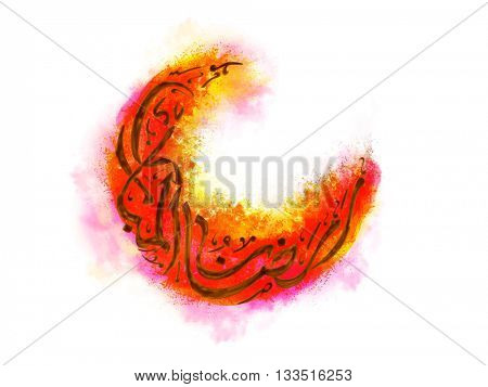Creative Arabic Islamic Calligraphy of text Ramazan-Ul-Mubarak in crescent moon shape on colourful splash for Holy Month of Muslim Community Festival celebration.