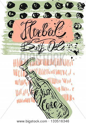 Hand drawn textured ink card.Vector colored abstract illustration of herbal bath.Hand Drawn texture for herbal shoporganic bath storeBody Lotion shop salelogo elementpackaging and herbal bath sign