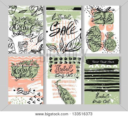 Hand drawn textured card template set.Vector colored collection of artistic herbal bath and skin care cards.Hand Drawn textures for Bath shopherbal oil storeHerbal shop salenatural bath logo.