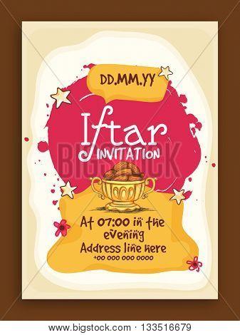Ramadan Kareem, Iftar Party Invitation Card design with illustration of delicious dates.