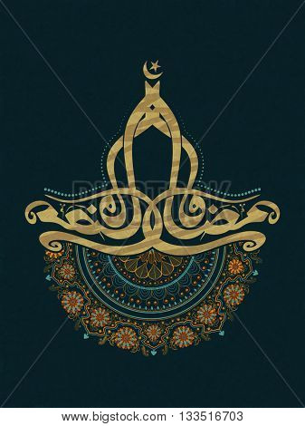 Arabic Islamic Calligraphy of text Ramadan Kareem with beautiful traditional floral decoration on green background, Can be used as pamphlet, banner or flyer design.