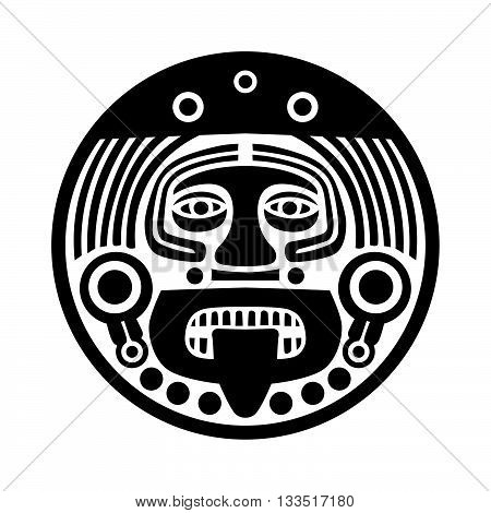 Old maya face mask on white background