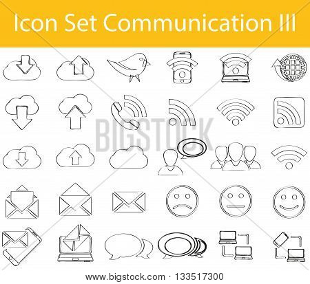 Drawn Doodle Lined Icon Set Communication Iii