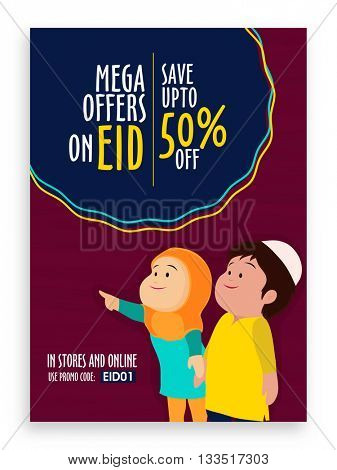Eid Sale with Mega Offers, Sale Pamphlet, Sale Banner, Sale Flyer, Sale Poster, Save upto 50%, Creative illustration for Islamic Festival celebration.