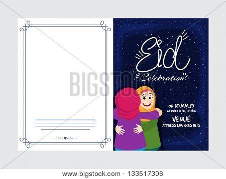 Elegant Invitation Card with cute Islamic Kids hugging and celebrating on occasion of Muslim Community Festival, Eid Mubarak.