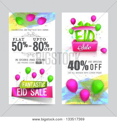 Fantastic Eid Sale Website Banners Set, Special Discount Offers on All Brands, Vector Sale Illustration with colourful glossy Elements.