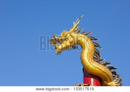 gold dragon on pole in Thailand .