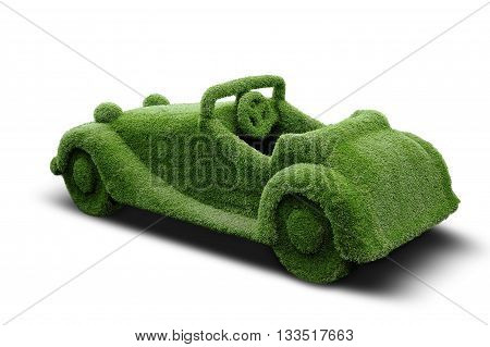 The car made of artificial grass cover. Park sculpture.