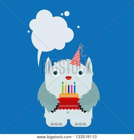 blue monster, vector illustration, birthday, gift, cake, holiday