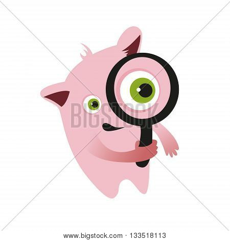 pink monster, search, vector illustration, look for magnifier