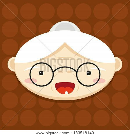cheerful grandmother, the old lady, brown texture, vector illustration head