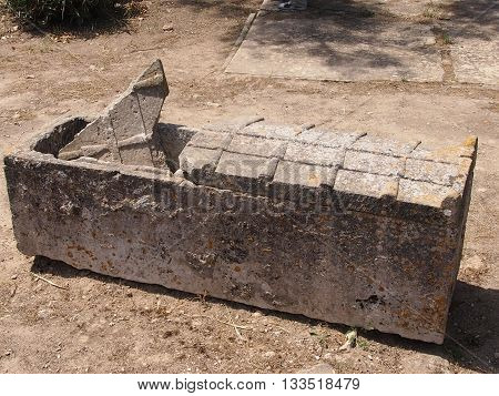 The stone sarcophagus found in burial in the territory of the destroyed Carthage