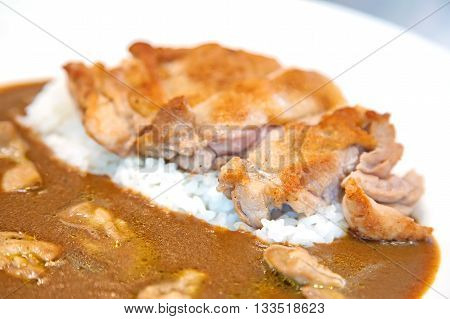 close-up of chicken fried with chicken curry sauce and rice on a white plate. (soft focus)