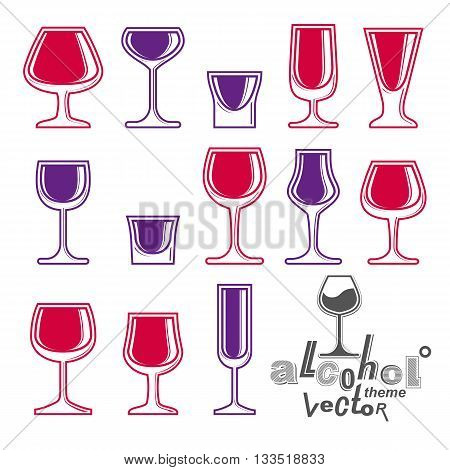 Vector alcohol goblets collection, graphic design elements set