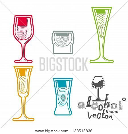 Vector alcohol goblets collection, best for use in graphic and web design.