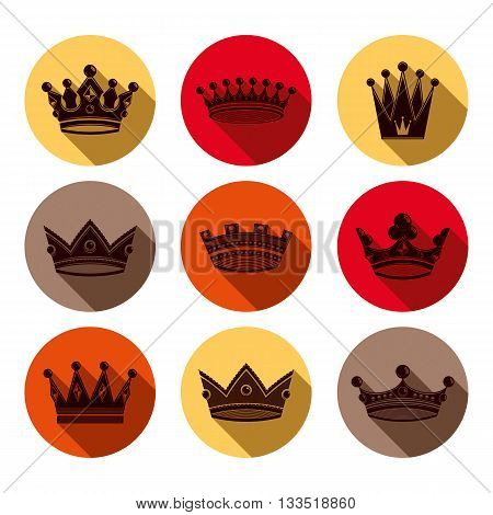 Colorful luxury crowns collection isolated. 3d imperial accessories can be used in web and graphic design.