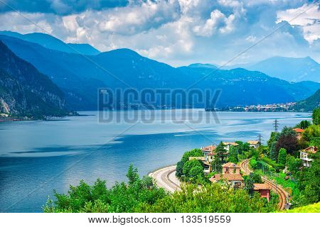 Glimpse of Lake Como near Lecco Italy