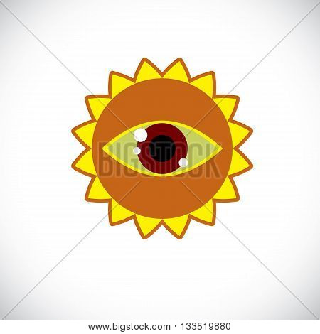 Yellow sun art illustration made with a human eye inside. Vector meteorology sign weather forecasting symbol isolated on white.
