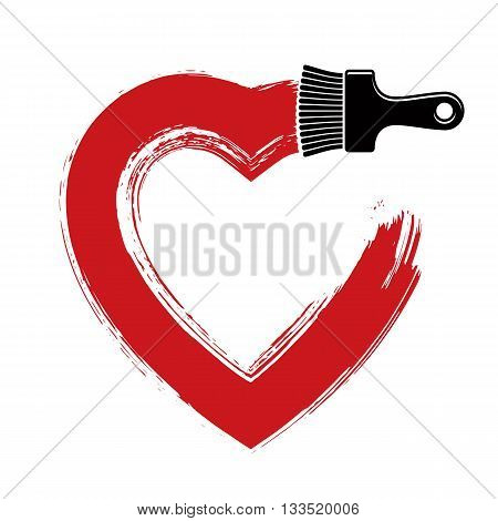 Vector hand-drawn heart shape created with brushstrokes.