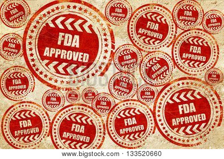 FDA approved background, red stamp on a grunge paper texture