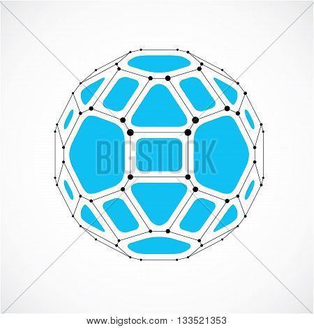 3d vector digital wireframe spherical object made using facets. Geometric polygonal blue ball created with lines mesh and pentagons. Low poly shape lattice form for use in web design.