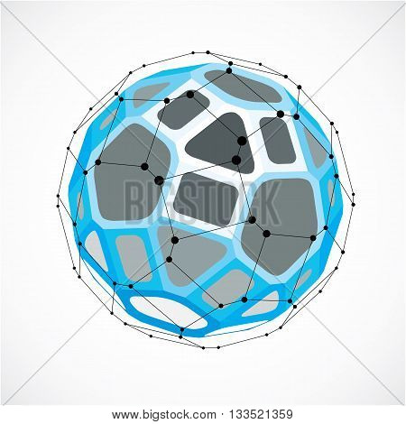 Perspective technology shape with black lines and dots connected polygonal wireframe object. Abstract blue faceted element for use as design structure on communication technology theme