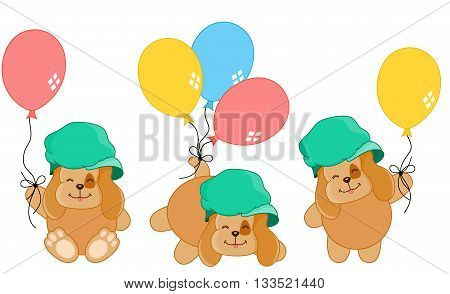 Scalable vectorial image representing a cute dog with balloons different positions, isolated on white.