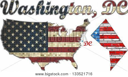 USA state of Washington, D.C. on a brick wall - Illustration, The flag of the state of Washington, D.C. on brick textured background,  Font with The District of Columbia,  Washington, DC map on a brick wall