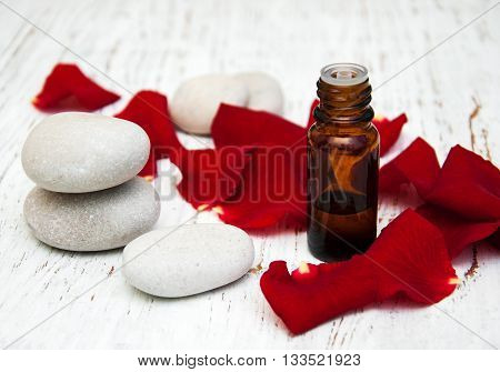 Rose Flower Petals With Aromatherapy Essential Oil