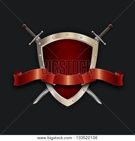 Medieval riveted shieldtwo swords and elegant red ribbon on black background for the design. 3D illustration.