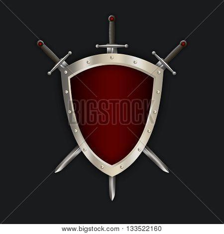 Medieval riveted shield and swords on black background for the design. 3D illustration.
