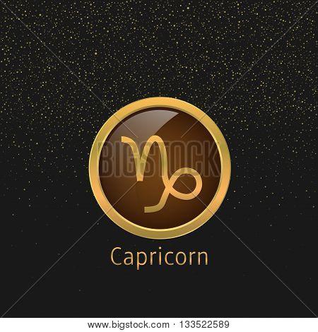 Capricorn Zodiac sign. Capricorn abstract symbol. Capricorn golden icon