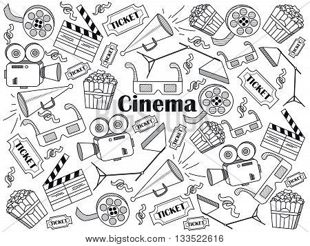 Cinema design colorless set vector illustration. Coloring book. Black and white line art