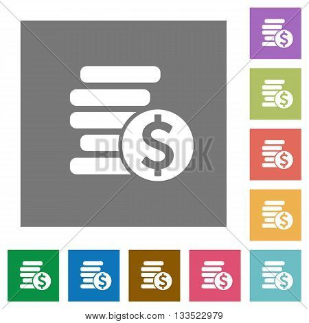 Dollar coins flat icon set on color square background.