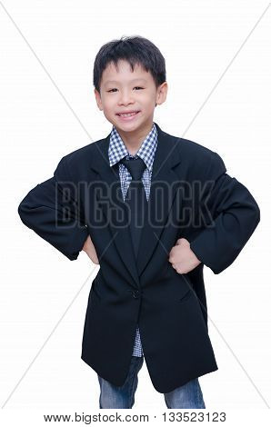 Young asian boy smiling in very big suit