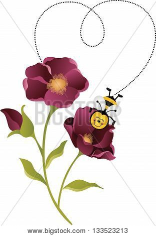 Scalable vectorial image representing a bee forming a heart with your flight on flower, isolated on white.
