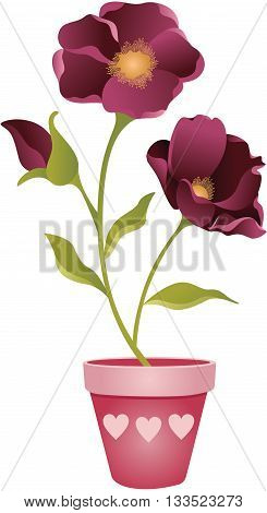 Scalable vectorial image representing a spring flower in Vase, isolated on white.