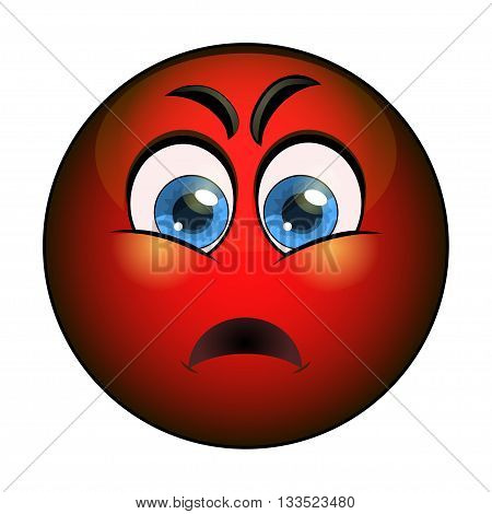 Angry red emoticon. Isolated vector illustration on white background