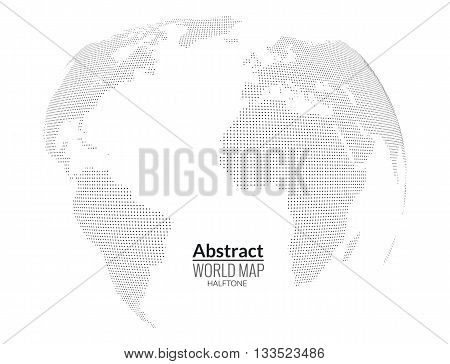 3d abstract world map planet, dots, global halftone concept.