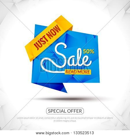 Sale Tags Graphic Elements in Paper Origami style. Promotional marketing and special offer 50 percents tags